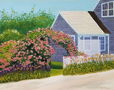 Oil painting from Cape Cod, Rosa Rugosa